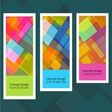 Set of creative stickers with colored squares Stock Photos