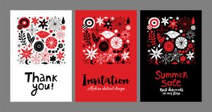 Set of creative templates with flowers and abstract hand drawn elements. Can be used for advertising, graphic design. Set of creative templates with flowers and Stock Images