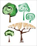Set of creative trees. Set of five different creative trees Royalty Free Stock Photography