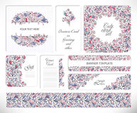 Set of creative universal floral cards. Stock Images