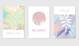 Set of creative universal floral cards in tropical style Stock Photo