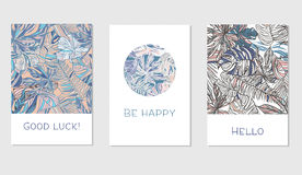Set of creative universal floral cards in tropical style Stock Photos
