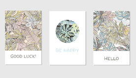 Set of creative universal floral cards in tropical style Stock Images