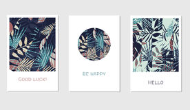 Set of creative universal floral cards in tropical style Royalty Free Stock Images