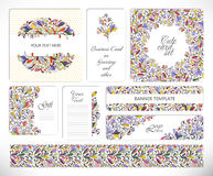 Set of creative universal floral cards. Stock Image