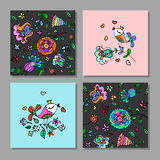 Set of creative universal floral cards. Royalty Free Stock Photo