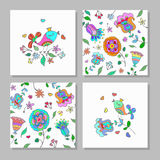 Set of creative universal floral cards. Stock Photo