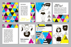 Set of creative universal geometric doodle cards. Royalty Free Stock Photography