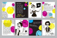 Set of creative universal geometric doodle cards. Stock Photography