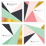 Set of 4 Creative Universal Invitation cards. Geometric Triangles Textures. Great for Wedding, Anniversary, Birthday. Party Invitations. Abstract modern design vector illustration