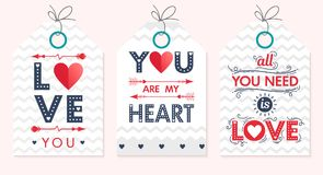 Set of creative Valentines Day cards. Hand drawn lettering with hearts,arrows and zig zag backgrounds.Seasons greetings cards perfect for prints,flyers,banners Stock Photo
