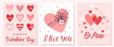 Set of creative Valentines Day cards. Hand drawn lettering with hearts,dots,hugs and kisses,gift box and arrows.Seasons greetings perfect for prints, flyers Stock Image