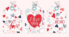 Set of creative Valentines Day cards. Hand drawn lettering with hearts,dots,speech bubble and clouds backgrounds.Seasons greetings cards perfect for prints Stock Photography
