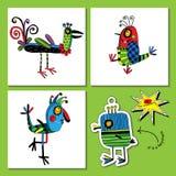 Set for creativity with funny birds. Stock Photos