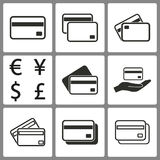 Set of Credit Card Icons. Set of black credit card icons on white background for graphic design and Internet sites. Vector illustration vector illustration