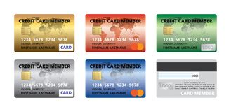 Set of credit card member front back design template gold silver red blue green, rainbow Stock Photo