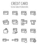 Set of credit card in modern thin line style. Stock Photos