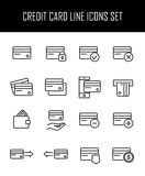 Set of credit card in modern thin line style. Stock Images