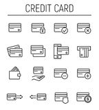 Set of credit card in modern thin line style. Royalty Free Stock Photo