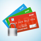 Set of credit card with padlock Royalty Free Stock Photos