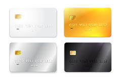 Set of credit card, white, gold, silver and black realistic mockup. Vector illustration. Isolated on white background. Set of credit card, white, gold, silver Royalty Free Stock Image