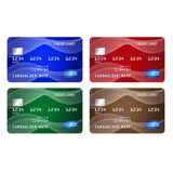 Set of credit cards in 4 different colors Stock Image