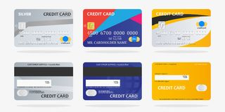 Set of credit cards. Template design of colorful credit cards on gray background. Vector Illustration Royalty Free Stock Images