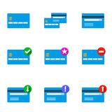 Set of credit cards. Vector sSet of flat blue credit cards icons for your business Stock Photo