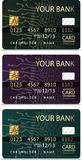 Set of 3 credit cardsiv PCB-layout style. Stock Photos