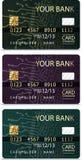 Set of 3 credit cardsiv PCB-layout style. Set of 3 credit cardsiv PCB-layout style Stock Photos
