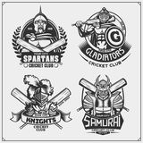 Set of cricket club emblems, labels, badges and design elements with ancient warriors. Print design for t-shirt. Vector royalty free illustration