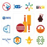 Set of cricket club, four  hearts, lis, arm wrestling, lacrosse, brick oven pizza, camera, grim reaper, stratis icons. Set Of 13 simple editable icons such as Royalty Free Stock Images