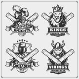Set of cricket club labels, badges and design elements. Emblems with viking, king, knight and crusader. Black and white Royalty Free Stock Photography
