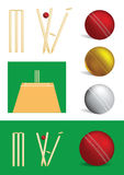 Set of cricket game objects Royalty Free Stock Photography