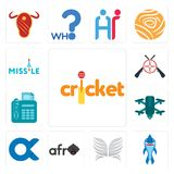 Set of cricket, shark mascot, silver wings, afro, , quadcopter, fax, shooters, missile icons. Set Of 13 simple editable icons such as cricket, shark mascot Royalty Free Stock Photos