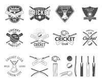 Set of cricket sports logo templates. Cricketer emblems and gear, equipment symbols. Sporting tee designs. Club royalty free illustration