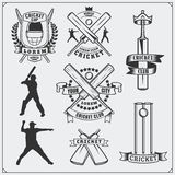 Set of cricket sports symbols, labels, logos and design elements. Cricket emblems and equipment elements. Royalty Free Stock Images