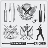 Set of cricket sports symbols, labels, logos and design elements. Cricket emblems and equipment elements. Royalty Free Stock Photo