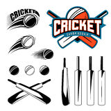 Set of cricket sports template logo elements - ball, bat. Use as icons, badges, label designs or print. Vector Royalty Free Stock Photo