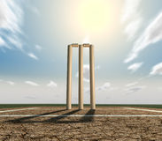 Cricket Pitch And Wickets Front Stock Image