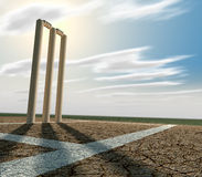 Cricket Pitch And Wickets Perspective Stock Images