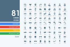 Set of crime icons. Crime vector set of modern simple icons Stock Photography