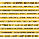 Set of Crime scene yellow tape, police line, danger, fire  Stock Images