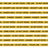Set of Crime scene yellow tape, police line, danger, fire, Do Not Cross tape. Cartoon flat-style. Vector illustration Royalty Free Stock Images
