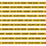Set of Crime scene yellow tape, police line, danger, fire, Do Not Cross tape. Cartoon flat-style. Vector illustration Royalty Free Stock Image