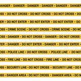 Set of Crime scene yellow tape, police line, danger, fire, Do Not Cross tape. Cartoon flat-style. Vector illustration Royalty Free Stock Photography