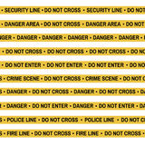 Set of Crime scene yellow tape, police line, danger, fire, Do Not Cross tape.   Royalty Free Stock Photo