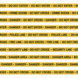 Set of Crime scene yellow tape, police line, danger, fire, Do Not Cross tape.  Stock Photos