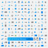 Set of crime stickers. Set of crime vector sticker icons with shadow. Paper cut royalty free illustration