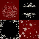 Set of cristmas background snowflake santa beard. Set of cristmas background greeting card snowflake seamless background santa beard silhouette red black white Stock Image